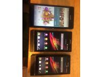 Selection of Sony Xperia phones