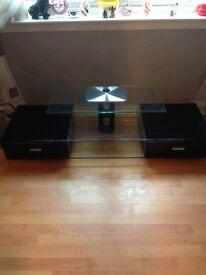 Black glass tv unit...£65