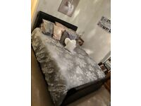 Kingsize king-size brown leather sleigh bed with four draws and memory foam mattress