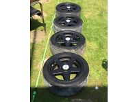"Set of Matt Black Azev 15"" Alloys Wheels with Good Tyres"