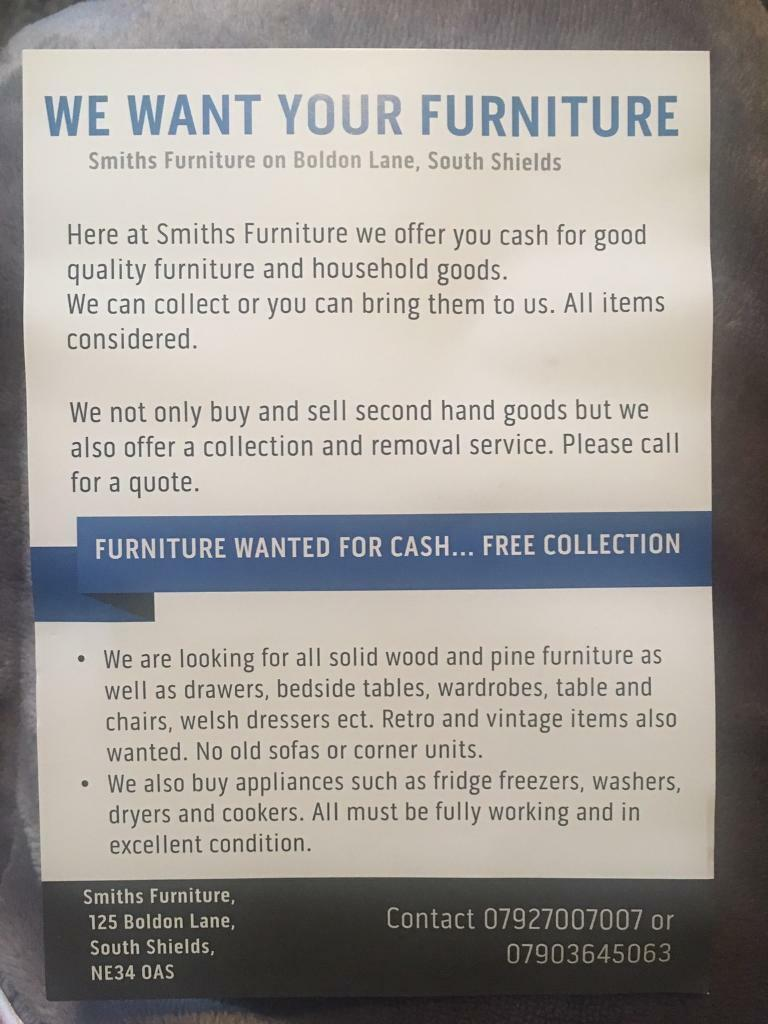 Furniture and household appliances wanted for cash. Free collectionin South Shields, Tyne and WearGumtree - Furniture and household appliances wanted for cash. Free collection Contact 07927 007007