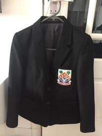 Girls black polyester blazer with Eastwood High logo