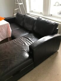 Urgent - Leather Sofa Bed with Chaise Storage Space
