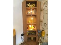 OAK EFFECT 6 TIER TALL CORNER DECORATIVE SHELF WITH LIGHTS! Excellent condition.