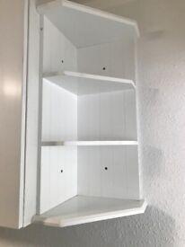White kitchen corner wall shelf