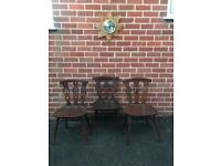 X3 Vintage ERCOL Dining Chairs Mid Century Retro 60s 70s