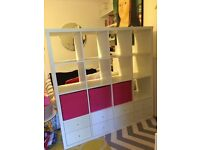 Ikea Kallax White 4x4 Storage Shelves Including 8 Drawers and 3 Drona Boxes RRP £162.50