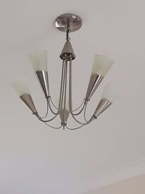 Ceiling light with 5 bulbs/frosted glass shades - Living/Lounge/Dining/Hallway (2 available)