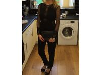 Ladies Philip Armstrong black with lace detail jumpsuit size 6-8 worn for 2 hours cost new £1000,