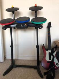 Xbox 360 guitar drums and microphone set