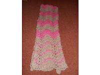 New Hand Knitted Beige and Pink Scarf