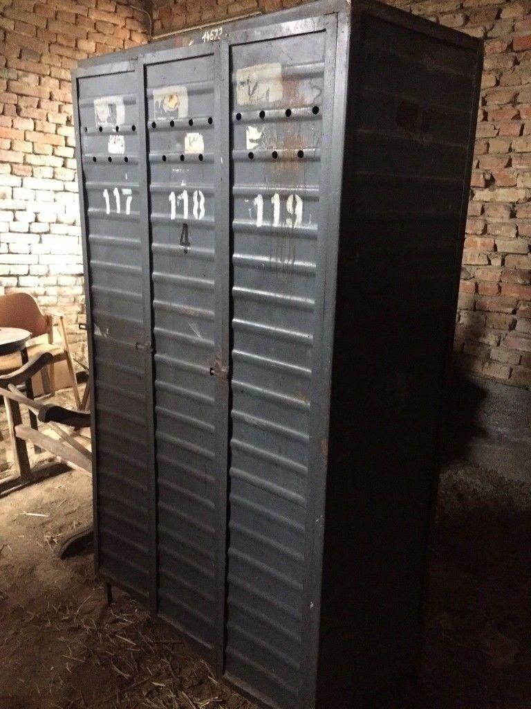 Vintage Metal Factory Lockers Storage Wardrobe Cabinet Retro Rib