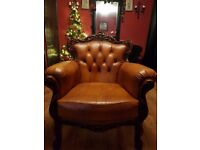 Antique style brown armchair baroque country vintage button back chesterfield