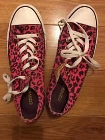 Pink leopard print converses
