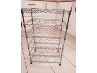 6 Level Silver Wine Rack