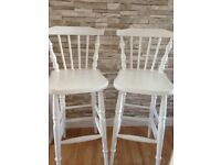 X 2 antique white vintage style breakfast bar stools