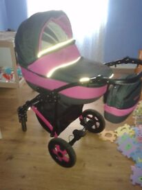Pram stroller and car seat + rain cover
