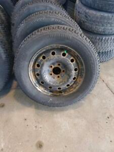 set of rims and winter tire