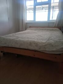 Double bed and bedside cabinet