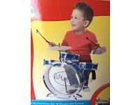 Kids Drum Kit Set Bruin w Box Music Instrument Preschool Toy Blue Boys Unisex Child Children
