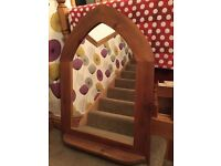 Solid pine gothic arch mirror with shelf