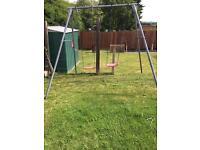 Metal double swing set