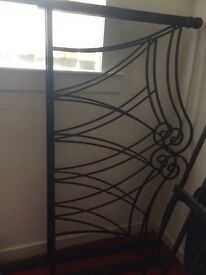 Solid metal double bed frame with metal base