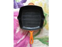 Le Crueset flame orange 33cm cast iron grill pan skillet