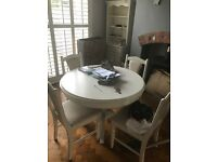 Painted pine table and chairs , antique pine and dresser £100.00