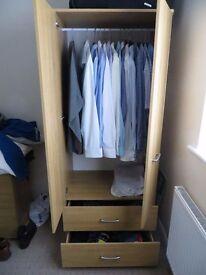 Harrison Solo Wardrobe and two drawer Med Oak