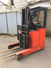 Lansing Reach Electric Forklift Truck. With Charger. Triple Mast