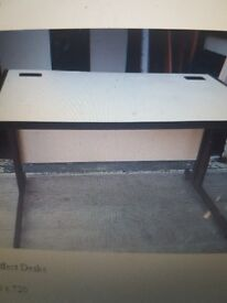Wood effect straight office desks in Cream wood effect top and Brown metal legs