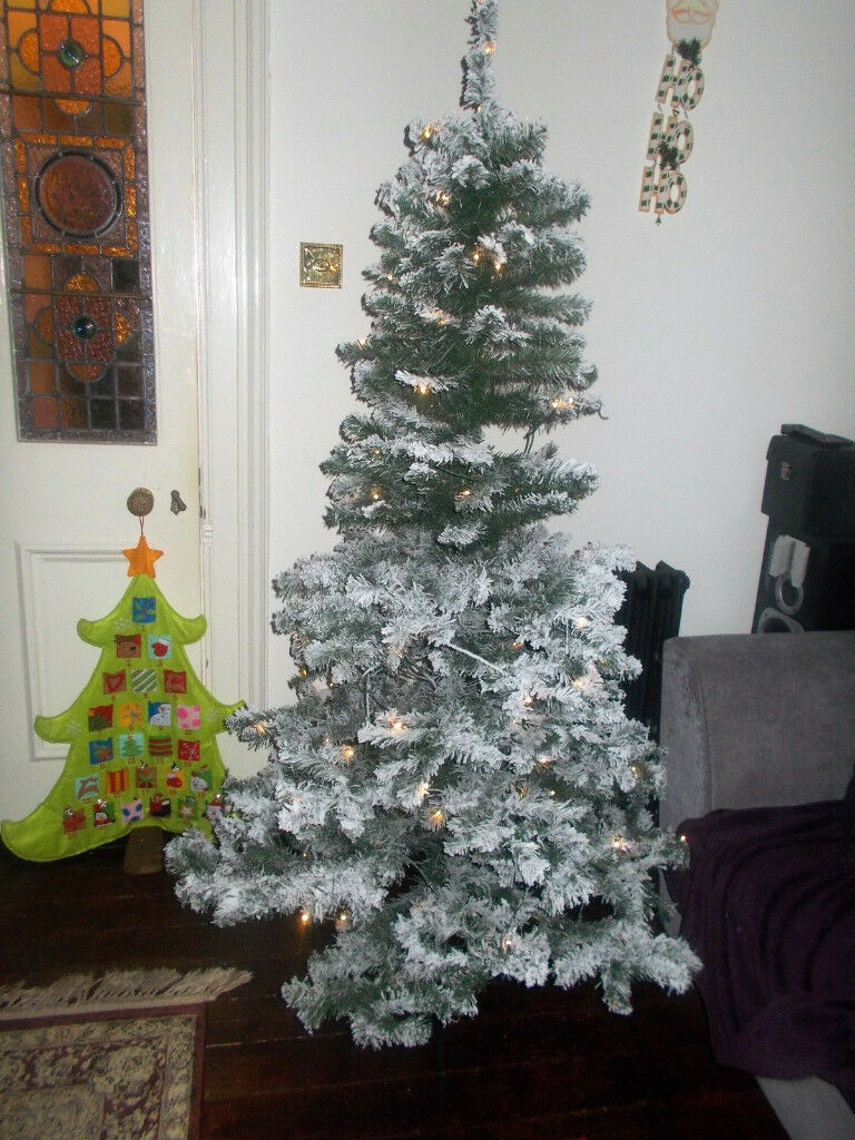 Asda Flocked Christmas Tree With Led Lights 6ft 180cm Boxed Like New