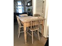 Rustic pine table & 4 dining chairs