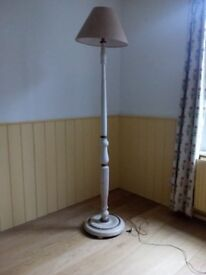 Standard lamp perfect for upcycling project, not working at the moment, made of painted wood.