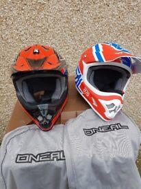 O'Neal Racing crash helmets x 2