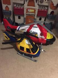 2x helicopter toys with lights and sounds