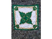 Green and Gold Horse Drawn Cart Vintage Scarf