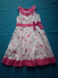 Girls White & Pink Summer Dress Age 6 Years IP1