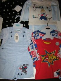 boys sleep suit 3/6m two spiiderman tops.dungerees.builder man.all 3/6m plus trainers.