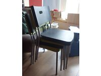 4 Ikea 'Herman' chairs in green and black