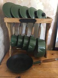 Le Creuset pan set and stand
