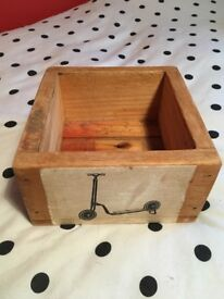 Wooden box with retro scooter print