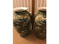Pair of Old Willow pattern large vases, green / white /gold