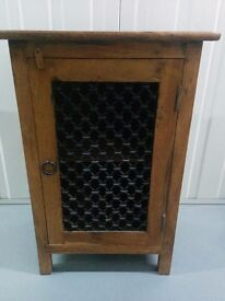 Indian wood cabinet with wrought iron door