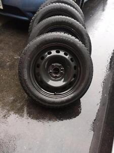 FIAT 500 HIGH PERFORMANCE WINTER TIRES 205/55/16 ON FACTORY STEEL RIMS