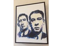A self drawn picture in felt tip of the Kray brothers reggie & Ronnie