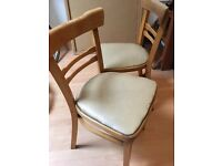 2x Wooden & Leather Vintage Chairs