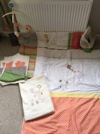 Mamas and papas baby nursery cot bedding set / bundle Elfie & Mop
