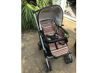 Mamas and Papas Ultima travel system - Pushchair, carrycot, group O+ car seat, with base and stand.